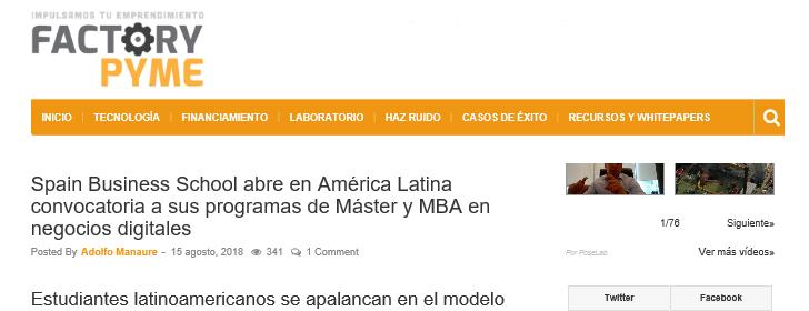 SpainBS abre en América Latina convocatoria a sus programas de Máster y MBA en negocios digitales