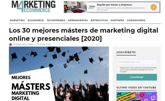 Spain Business School elegida como una de las mejores escuelas para formarse en Marketing Digital y en Big Data